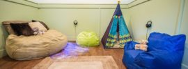 calming room with tepee and bean bags